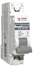 Автоматический выключатель ВА 47-63, 1Р 20А (С) 4,5kA EKF PROxima
