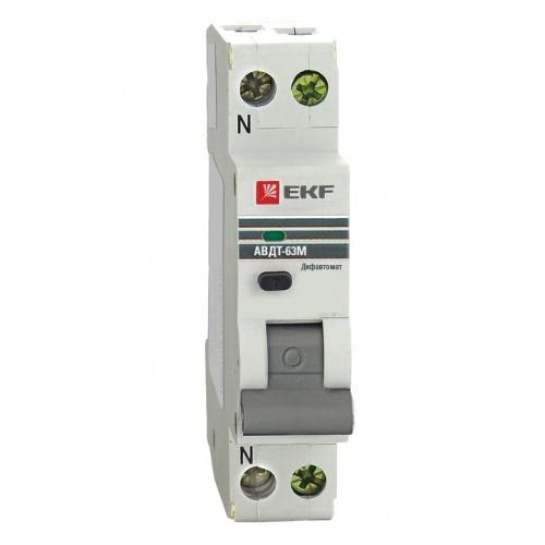 Дифференциальный автомат АВДТ-63М 25А/30мА (1мод., хар.C, электронный тип AС) 6кА EKF PROxima