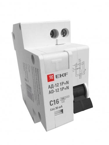 Дифференциальный автомат 1P+N 20А 30мА тип АС х-ка C эл. 4,5кА АД-12 EKF Basic