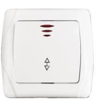 Выключатель проходной 1-клавишный с индикатором 10А белый Мадрид EKF