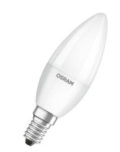 Лампа светодиодная LED STAR ClassicB40 5,4W/830 230V E14, свеча, теплый белый свет, матовая колба