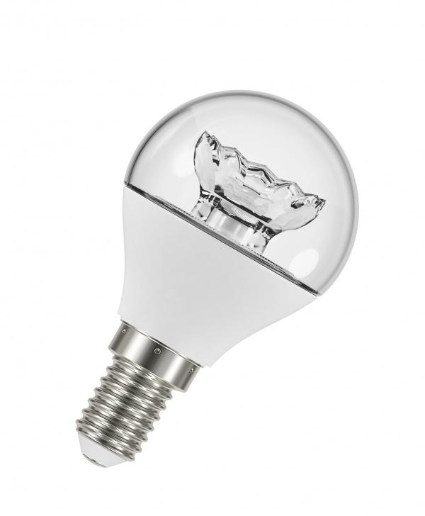 Лампа светодиодная LED STAR ClassicP40 5,4W 230V Е14 OSRAM шар, теплый белый свет, прозрачная колба