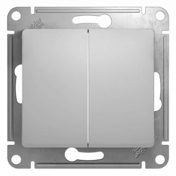 Выключатель Glossa GSL000351 2-кл., алюм.
