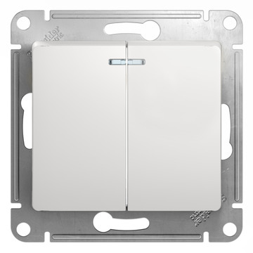 Выключатель Glossa GSL000153 2-кл. с/подсв., бел.
