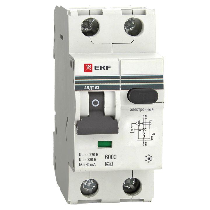 Дифференциальный автомат АВДТ-63 63А/30мА (хар-ка C, электронный тип A) 6кА EKF