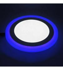 12+4W Синий, IP 20, Color, Светильник светодиодный с декоративной подсветкой круглый,Truenergy 10203