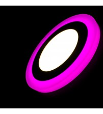 12+4W Розовый, IP 20, Color, Светильник светодиодный с декоративной подсветкой круглый, Truenergy