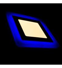 12+4W Синий, IP 20, Color, Светильник светодиодный с декоративной подсветкой квадрат,  Truenergy