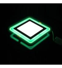3+2W Зеленый, IP 20, Color, Светильник светодиодный с декоративной подсветкой квадрат,  Truenergy