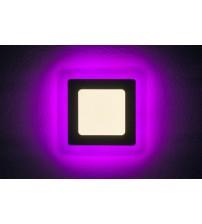 3+2W Розовый, IP 20, Color, Светильник светодиодный с декоративной подсветкой квадрат,  Truenergy