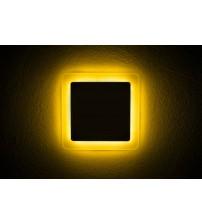3+2W Желтый, IP 20, Color, Светильник светодиодный с декоративной подсветкой квадрат,  Truenergy