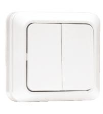 Выключатель 2-клавишный 10А белый Рим EKF