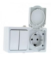 Блок Розетка-выключатель 2-клавишный 16А с заземлением с крышкой Венеция IP54 EKF
