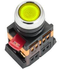 Кнопка ABLFS-22 желтая, подсветка, 1NO+1NC